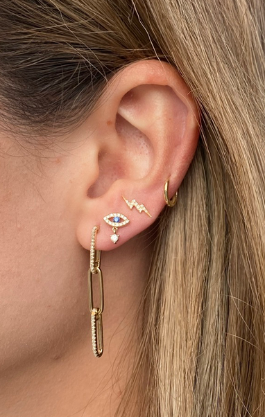 Double Diamond Link Chain Earrings with Post
