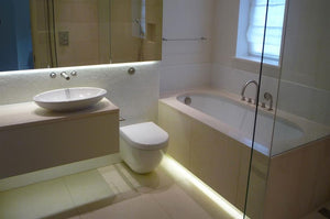 Multi color light strips to set the vibe in your bathroom