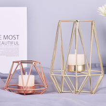 Load image into Gallery viewer, Stunning Wrought Iron Geometric Candle Holder