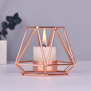 Rose Gold Metal Geometric Candle Holder
