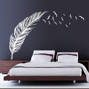 Tall White Feather & Birds Wall Sticker for Bed Headboard, Living Room & Home