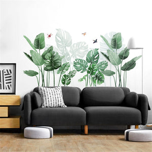 Palm Leaves Wall Sticker, Tropical DIY Wall Decals , Removable Self-Adhesive Wall Mural , Waterproof Art Decal