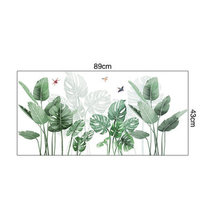 DIY Green Plants Fresh Leaves Wall Decal, Nursery Decor Plant Leaf Wall Stickers Tropical Home Decal Mural Paper Decoration