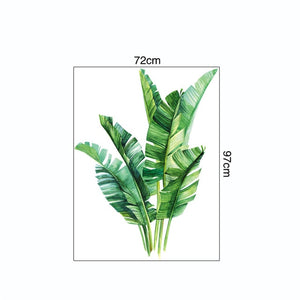 Green Tropical Leaves Wall Decal Nature Palm Tree Leaf Plants Wall Sticker Art Murals for Bedroom Living Room Classroom Office