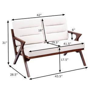 White Sturdy Solid Wood Modern Fabric Loveseat Armchair Furniture for Living Room, Bedroom, Office