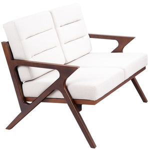 Sturdy Solid Wood Modern Fabric Loveseat Armchair Furniture for Living Room, Bedroom, Office