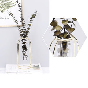 Stunning Stainless Steel Geometric Vase Flower Pot w/ Glass Test Tubes