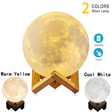 Load image into Gallery viewer, Warm Yellow & Cool White 3D Moon Lamp