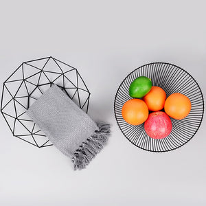 Geometric Wire Fruit Display Bowl, 3 color options