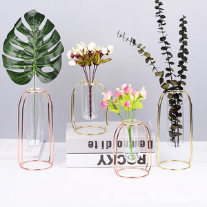 Metal Minimalist Hydroponic Stainless Steel Vase w/ Glass Test Tubes