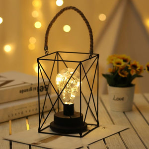 LED Bulb in Retro Iron Casing Lantern, Battery Powered Decor for Indoor & Outdoor