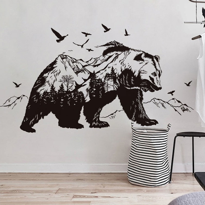 Big Black Bear Wall Decal for Home, Business, Bar