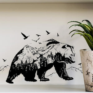 Magic Peel Black Bear Wall Sticker, Decal, Mural, Large Size