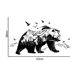 Stunning Wall Decal Mural Big Size Bear Sticker for Decor