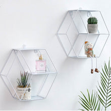 Load image into Gallery viewer, Wall Mounted Geometric 3-Tier Floating Flower Cubby Shelf