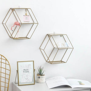 3-Tier Wall Mounted Display Rack Geometric Floating Flower Cubby or Shelve