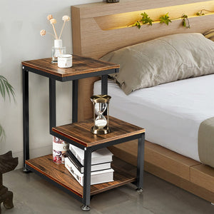 PB Wood Rustic Retro Athena 3 tier shelve end table