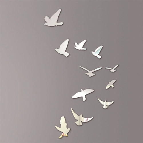 Beautiful Free the Birds Wall Mirror Sticker Mural Decal