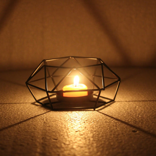 Minimalist Geometric Hexagon Candlestick Tea Light Holder for Home, Wedding, Christmas, Party Decor