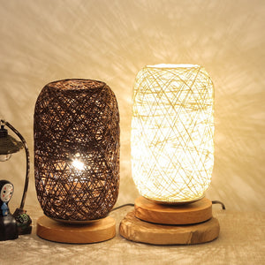 Bedside Table Lamp Rattan Ball Style USB Night Light