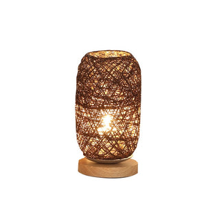 Brown Energy Saving Hand Woven Rattan Bedside Decor Night Lamp