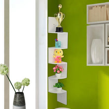 Load image into Gallery viewer, White 5-Tier Corner Shelf Floating Zigzag Design Wall Book Shelf