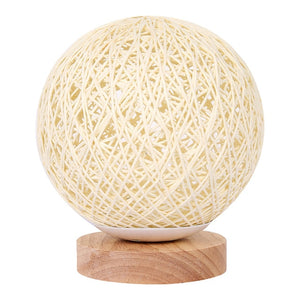 Beige Hand Knit Moon Ball Dimmable Table Lamp
