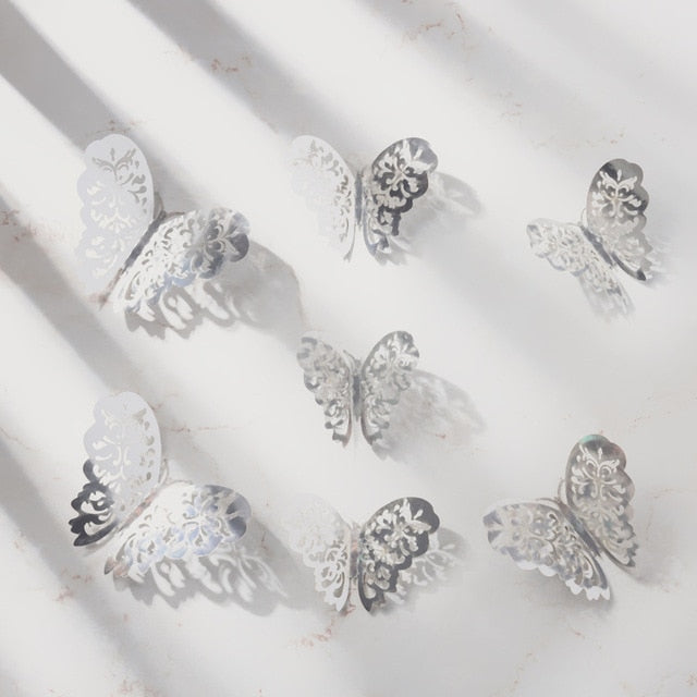 3D Textured Butterfly 12PCs Wall Stickers Decals Murals for Indoor Decor