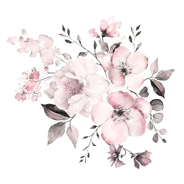 PVC Pink Peony Flower Wall Decal Sticker Mural for Home & Business Decor
