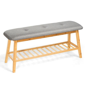 Functional Solid Wood Bamboo Bench & Shoe Rack, Accent Furniture, Interior Design Ideas