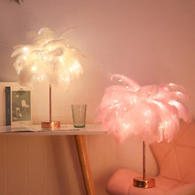 Load image into Gallery viewer, Modern Feather Shade Fairy Light Lamp for Home Decor