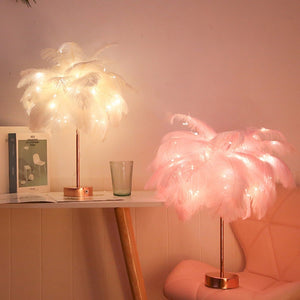 Modern Feather Shade Fairy Light Lamp for Home Decor
