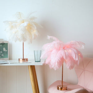 White & Pink Feather Table Lamp w/Remote Control