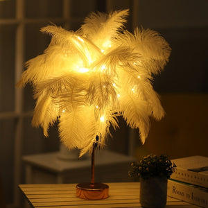 Warm Light White Feather LED Lamp w/Remote Control