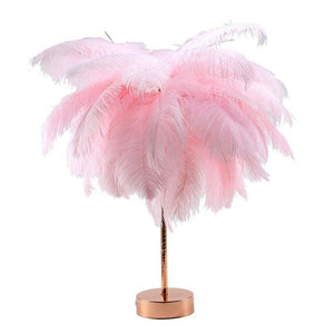 Pink Cute Feather Shade Glowing Table Lamp