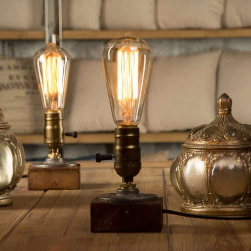 Antique Vintage Style Industrial Edison Lamp on Wooden Base