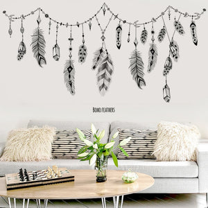 Removable Boho Feathers Wall Mural Decal, Peel & Stick Wall Sticker for Vibrancy and Contrast