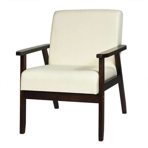 Beige Allegra Accent Chair w/ Solid Frame & Natural Rubber Wood