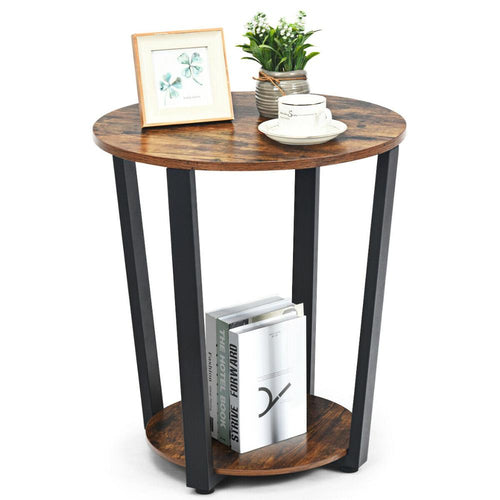 Powered Iron Tube Rustic Elegant Wood Thalia End Table