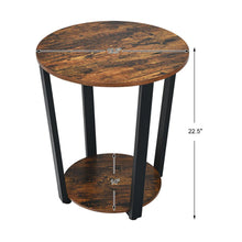 Load image into Gallery viewer, Powered Iron Tube Rustic Elegant Wood Thalia End Table
