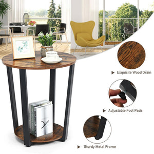 Powered Iron Tube Rustic Elegant Wood Thalia End Table w/ Adjustable Foot Pads