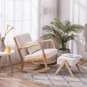 Sofia Rocking Modern Chair Furniture w/ Oak Frame & Sponge Foam Cushions