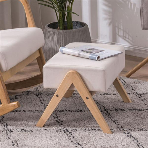 Sofia Footrest stool w/ Oak Frame & Cotton Cushions