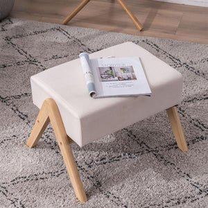 Sofia Footrest stool w/ Oak Frame & Cotton Cream Color Cushions