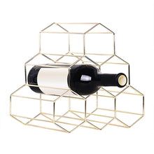 Load image into Gallery viewer, Gold Wine Rack Countertop, Freestanding Bottle Holder, Tabletop Wine Rack 6 Bottles