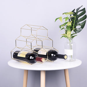6 Bottle Rack for Precious Wine Collection, Easy to Stack Hexagonal Geometric Holder