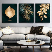 Load image into Gallery viewer, Set of 3 Gold Leaf Abstract Art Canvas Panels Paintings for Home & Business Decor