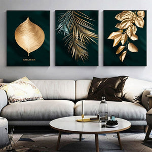 Set of 3 Gold Leaf Abstract Art Canvas Panels Paintings for Home & Business Decor