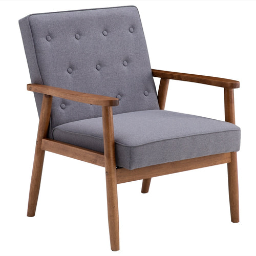 Solid Frame Elisa Retro Hard Wood Modern Accent Chair