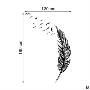 Black Vinyl Feather & Bird Wall Sticker Art Mural, Decal